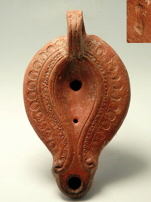 Large Roman Decorated Terracotta Oil Lamp (M12)
