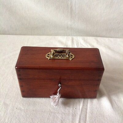 Handsome Victorian Solid Mahogany Jewellery? Box With Lock And Key