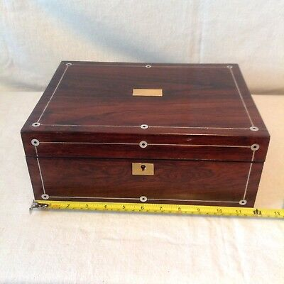 Lovely Large Victorian Sewing/Jewellery Box With Good Interior