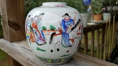 Very Good 19th C. Antique Chinese Famille Rose Vase With Horse and Wheelchair