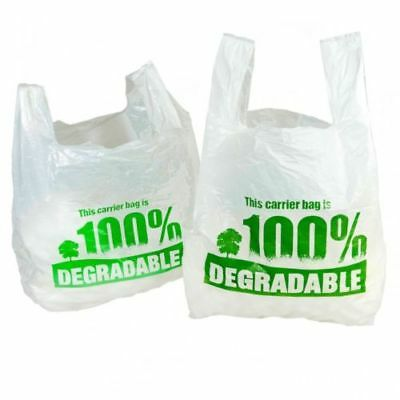 100% WHITE DEGRADABLE CARRIER BAGS | Plastic/Shopping/Stores/Material/Vest Eco