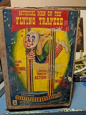1953 Original cardboard box for Musical Man on the Flying Trapeze by Mattle, Inc
