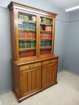 Antique Victorian Walnut Bookcase Circa 1880- 1900