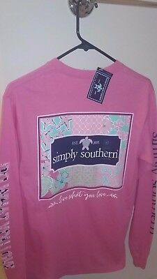 NWT Simply Southern Long Sleeve T Shirt Women's Patchwork Live Love Small Pink S