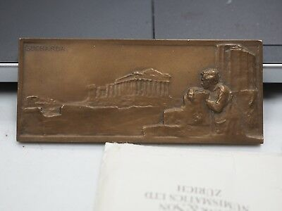 Rare Old Plaque Bronze Medal By Sucharda Man Looking At Greek Roman Ruins