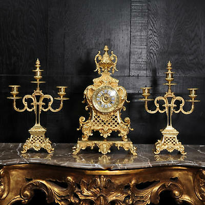 Antique French Gilt Bronze Rococo Clock Set C1880