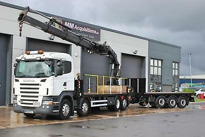 2010 Scania R480 8X2 Rigid Flat Drawbar With Crane Twin Sleeper Highline Cab.