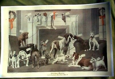 MANY DOGS CHRISTMAS REPRINT EARLY 1920s LIFE MAGAZINE AIREDALE WESTIE SCHNAUZER