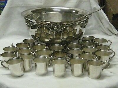 1940's WALLACE SILVERPLATE PUNCH BOWL SET, LADLE & 24 CUPS