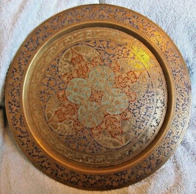 Vintage indian very large brass plate/tray