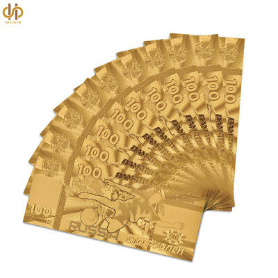 10PC Russia 100 Ruble Gold Banknote 2018 World Cup Note Paper Money Collection