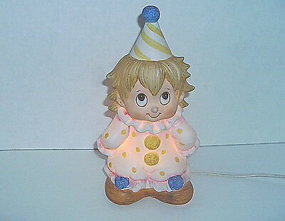 Vintage Lefton Baby Clown Night Table Lamp Hand Painted Circa 1980s
