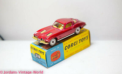 Corgi 310 Chevrolet Corvette Sting Ray In Original Box - Nr Mint Vintage Old 60s