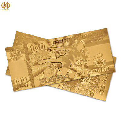 100PCS Russia Gold Banknote 100 Ruble 2018 World Cup Game Banknote Currency Note