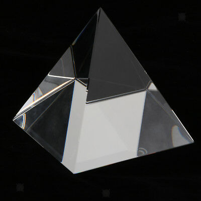 80mm Clear Crystal Glass Pyramid Prism Craft Statue Home Decor Paperweight