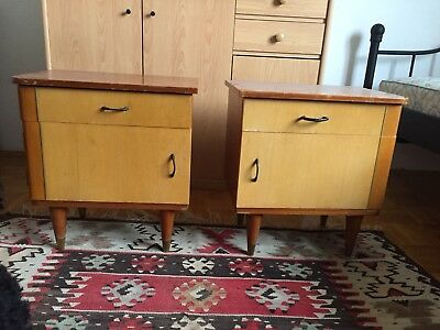 Pair Of Mid Century Modern  1950 th eames era Nightstands