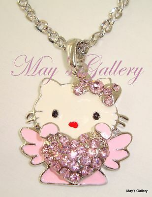 """Hello Kitty Pendant and  Necklace Crystal 27"""" Long NIB Charm Charms Bling Bling"""