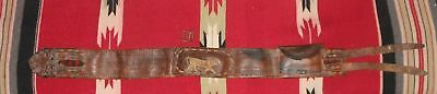 Antique Mexico Central America folk art leather belt fabric trim + embroidery