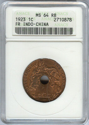 French Indo-China 1923 1 cent slabbed by ANACS as MS 64 RB, KM 12.3