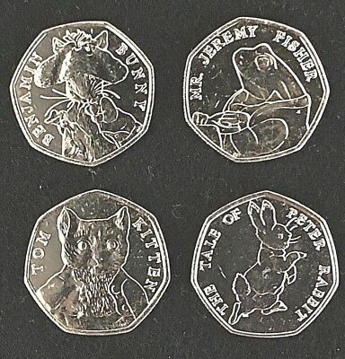 Tom Kitten, Jeremy Fisher, Benjamin Bunny, Peter Rabbit, 2017 Beatrix 50p