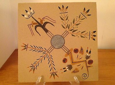 Johnnie & Gracie Dick Navajo Sand Art Painting Sacred Plants Signed Original 12""