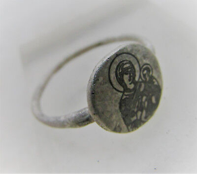 Finest Circa 600-900Ad Byzantine Era Silver Seal Ring Depicting Mary & Babyjesus