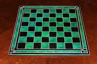 """Vintage Green Soapstone (Kenyan) African Chess Board, 10"""", New"""