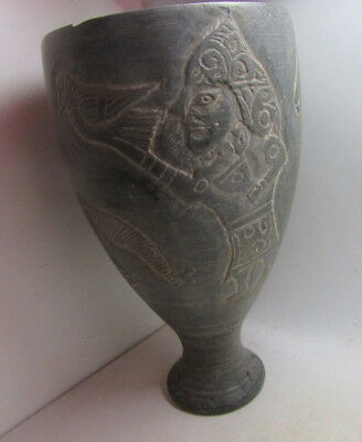 Beautiful Ancient Middle Eastern Stone Chalice, Beast And Warrior Depictions