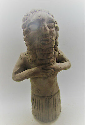 Circa 2000Bc Near Eastern Terracotta Worshipper Statuette Rare