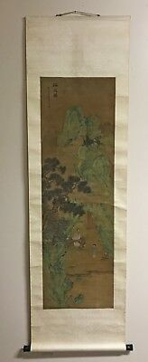 Antique Chinese Scroll Painting Of Landscape With Figures - Qing Dynasty