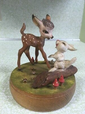 ANRI Walt Disney Bambi & Thumper Music Box 1960's - 1971