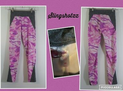 """'16 *Justice* Girls """"10"""" Gray/Pink Swirl Pull-on Poly Stretch Athletic Leggings"""