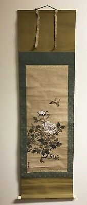 Old Chinese Watercolor Scroll Painting Of Butterfly And Flowers