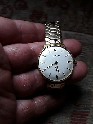 vintage accurist mens watch, 21 jewels, gold plated case and strap