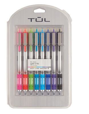 TUL Retractable Gel Pens Needle Point 0.7 mm Pack Of 8 Pens