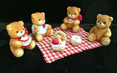 Lucy & Me bears Enesco 4 bears having a picnic six pieces vintage