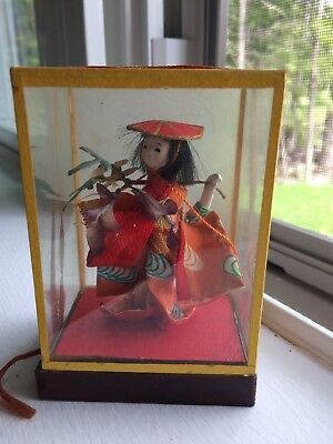 Rare Antique Japan Dancer Doll In Glass & Wood Case