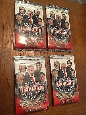 Decision 2016 - Trading Card  (4 Packs) Obama, Clinton, Trump Sealed