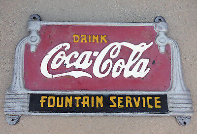 Vintage Coca-Cola Fountain Service Cast Iron Fountian Bench Sign Advertising