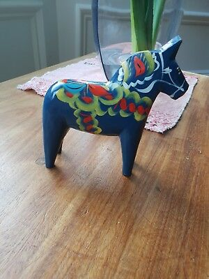 Blue Dala Horse - Vintage Swedish - 13cm - Handpainted - Nils Olsson