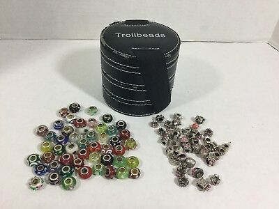 Lot Of 88 Random Murano Style Glass Beads & Metal Beads With Trollbeads Case