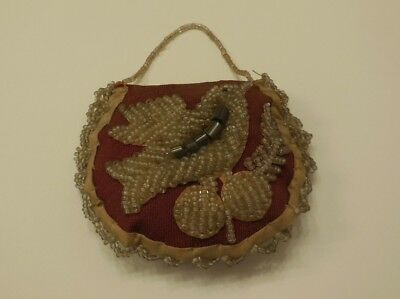 Antique Iroquois Indian Glass Beaded Purse Pincushion Native American