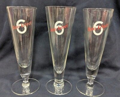 """6"" SICKS' SELECT Pilsner  Vintage Clear BEER GLASS Set of 3"