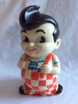 VINTAGE 1970's BIG BOY RUBBER STILL COIN PIGGY BANK 10 INCHES TALL