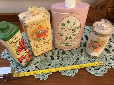 Vintage Lot of 4 Talcum Powder Boxes Tins Assorted and Awesome