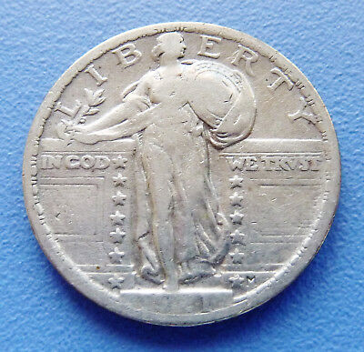 Key Date!! 1921-P Us Standing Liberty Quarter ~ Fine Cleaned Condition