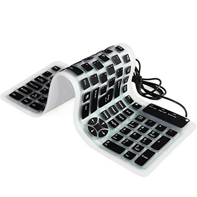 CHINFAI Portable Wired USB Keyboard Silicone Silent Waterproof Keyboards for Com