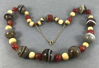 FINE Antique Eastern Banded Agate Necklace with Carnelian & Bone Chinese c1900