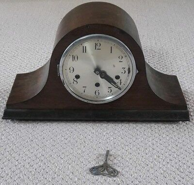 Foreign Antique Vintage Wooden Chiming Mantle Clock