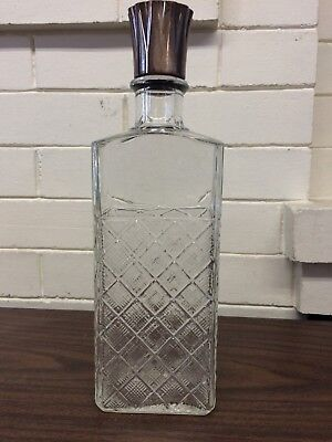 Vintage Glass Bottle Decanter - Diamond Pattern FEDERAL LAW FORBIDS SALE printed